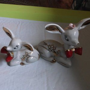 2 china glass deer figures